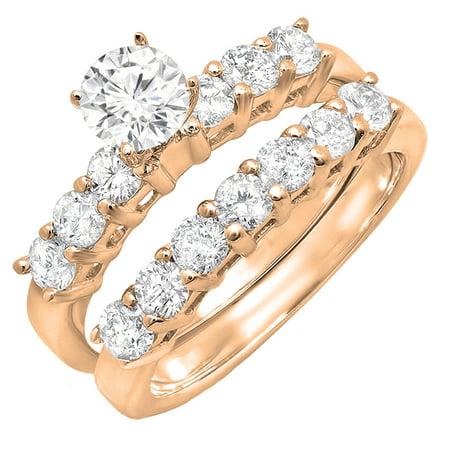 - 1.00 Carat (ctw) 18K Rose Gold Round White Diamond Ladies Semi Mount Bridal Engagement Ring Set (No Center Stone) 1 CT