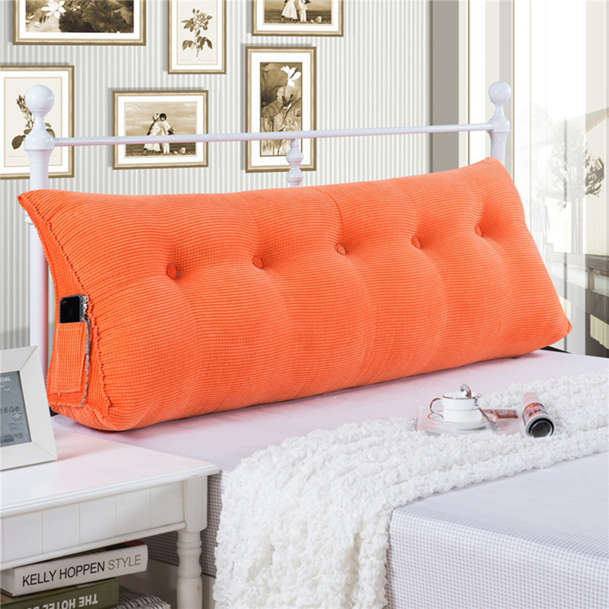 e12f0fd79ba4 Sofa Bed Large Filled Triangular Wedge Cushion Bed Backrest Positioning  Support Pillow Reading Pillow Office Lumbar Pad with Removable Cover Orange  Twin
