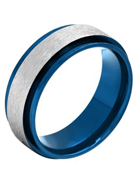 Men's Stainless Steel Blue IP Frozen Finish Wedding Band – Mens Ring