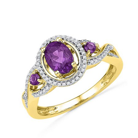 10k Ladies Yellow Gold Diamond & Oval Amethyst Gemstone Fashion Ring - Amethyst Bezel Diamond Ring
