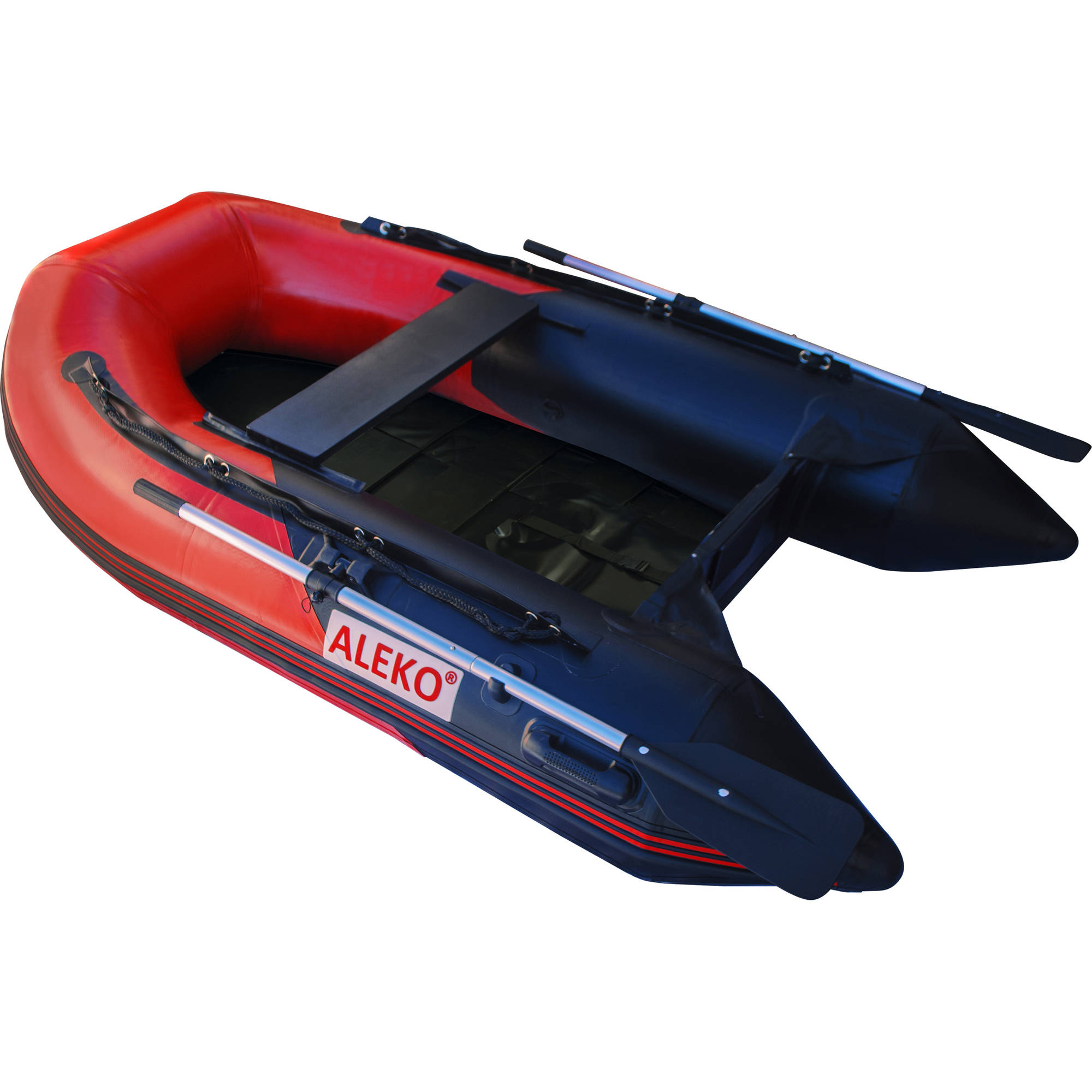 ALEKO Inflatable Boat - Pre-Installed Slide Floor - 3-Person - 8.4 Feet - Red and Black