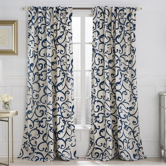 vcny home flocked brandy 84 length back tab window curtains multiple colors available. Black Bedroom Furniture Sets. Home Design Ideas