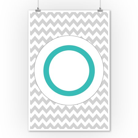 Monogram - Chevron - Gray & Teal - O (9x12 Art Print, Wall Decor Travel Poster) ()