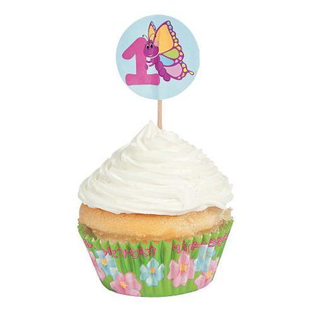 IN-13598737 1st Birthday Butterfly Cupcake Liners with Picks 100 Piece(s)