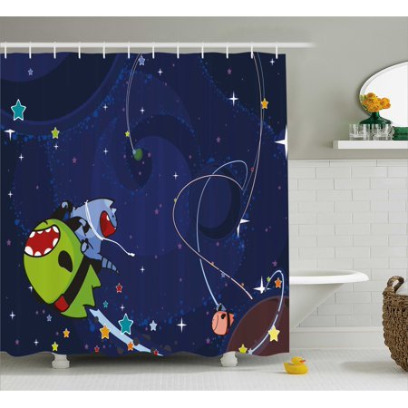 Space Cat Shower Curtain Cartoon Kittens Alien Creatures Stars Planets On Abstract Backdrop Fabric
