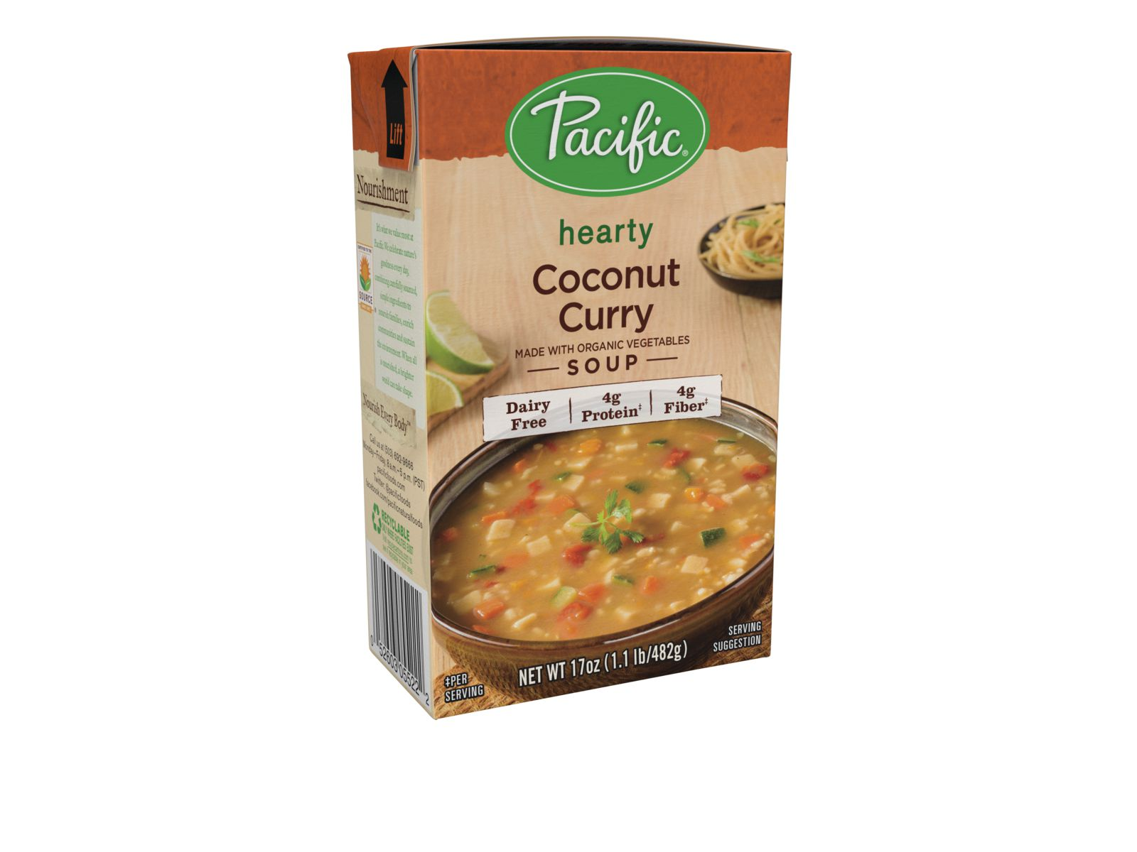 Pacific Foods Hearty Organic Coconut Curry Soup, 17-Ounces