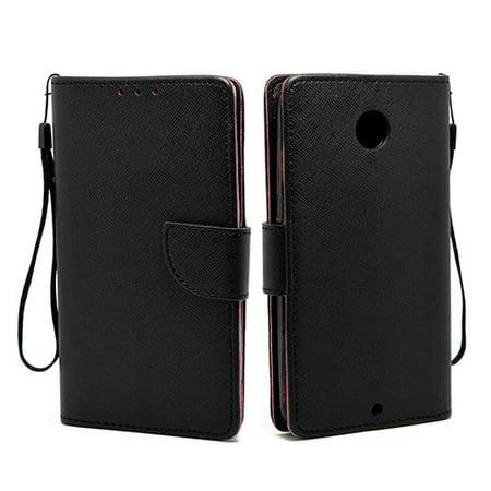 Motorola Google Nexus 6 Leather Wallet Pouch Case Cover Black (Nexus 6 Love Case)