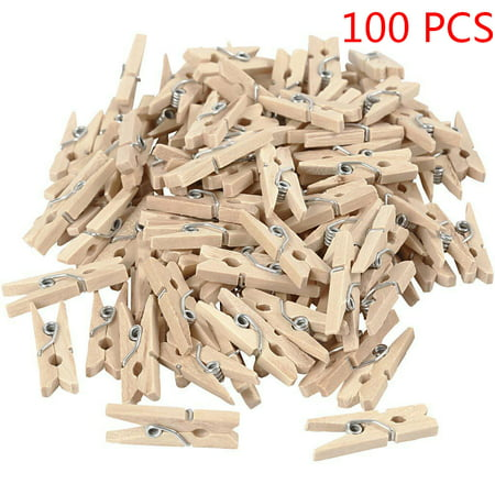 100Pcs 25mm Mini Wooden Photo Paper Peg Clothespin Clothes Pin - Small Clothes Pins