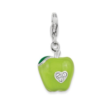 Sterling Silver Rhodium 3-D Enameled Apple w/Lobster Clasp Charm QCC1065 (17mm x 13mm) - image 2 de 2