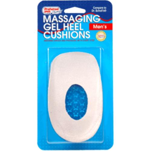 Massaging Gel Heel Cushions, Men's - One Size 1 pair (Pack of 3)
