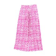 NEW Lauren Ralph Lauren Pink Print Womens Size Medium M Wide-Leg Pants