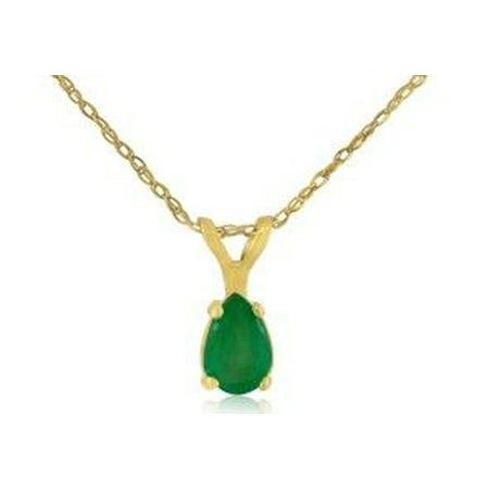 Pear Emerald Pendant - 1/2ct Pear Shaped Emerald Pendant in 14k Yellow Gold