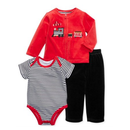 First Impressions Infant Boys Red Velour Train Set Pants Shirt Sweater Set - Soul Train Outfit