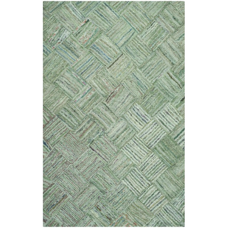 """Safavieh Nantucket 2'3"""" X 11' Hand Tufted Cotton Pile Rug in Green - image 1 of 1"""