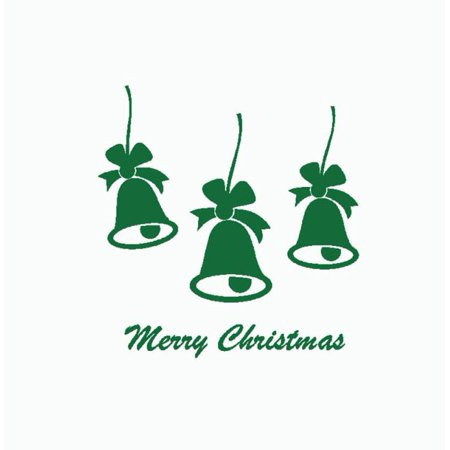 Merry Christmas Bell Quote Wall Sticker Home Shop Windows Decals Decor Removable ()