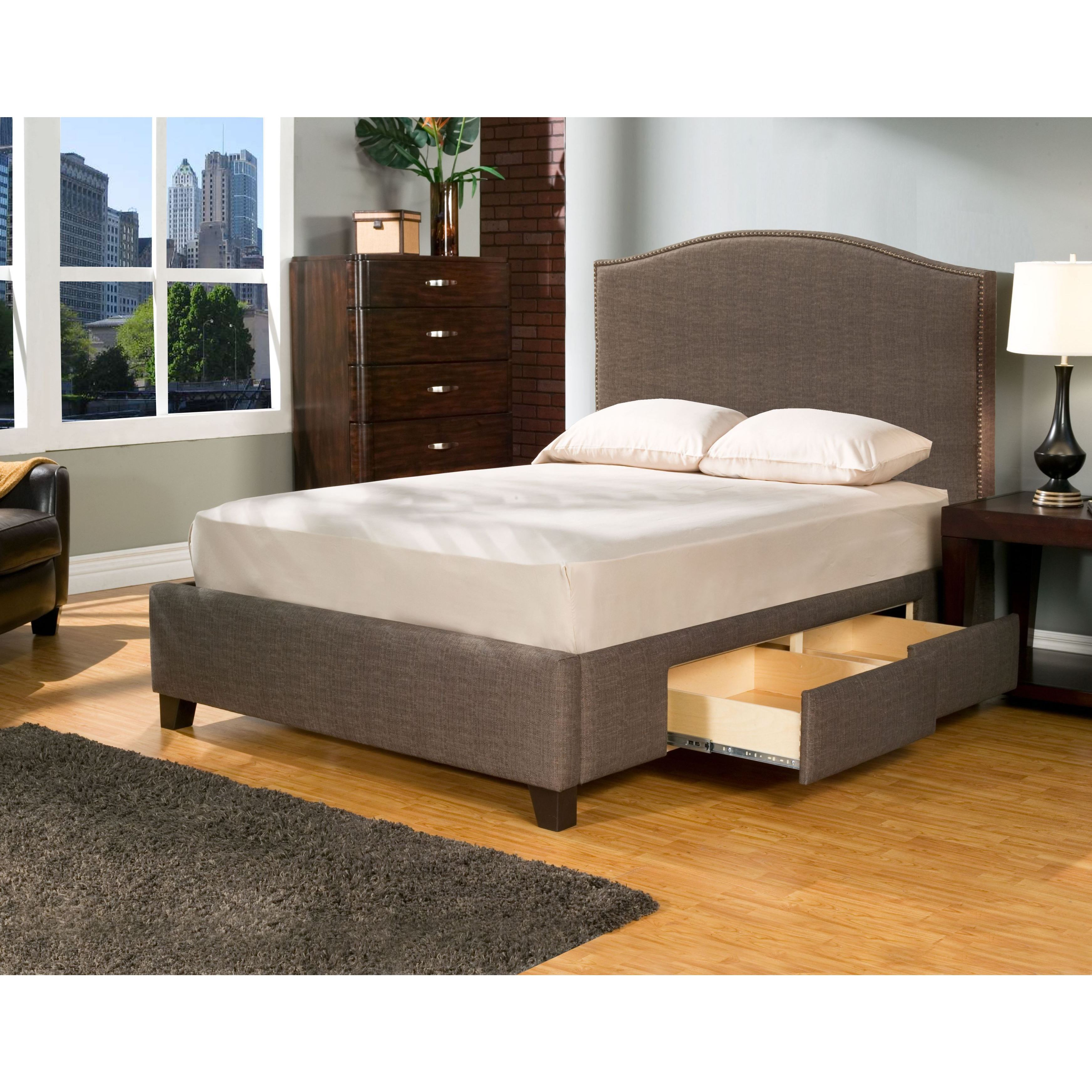 Seahawk Designs Newport Char-Brown 4 Drawer Upholstered Bed