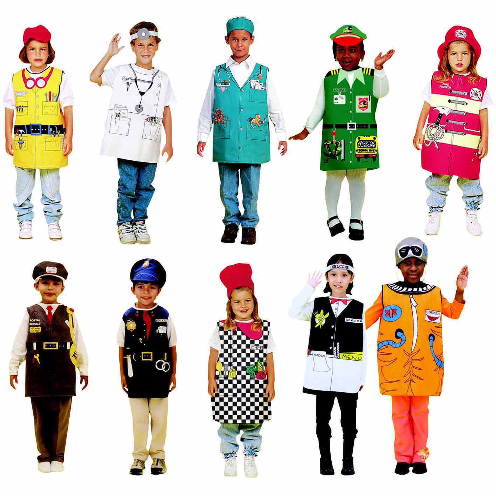 Childcraft Occupations Costumes with Hats for Children, Set of 10