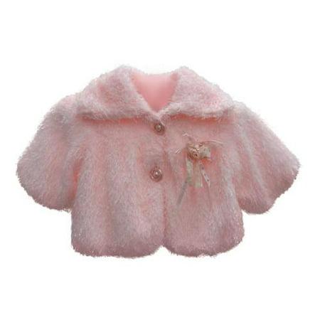 eaf632ff0 S. Square - Baby Girls Pink Faux Floral Adornment Button Winter Coat  12M-24M - Walmart.com