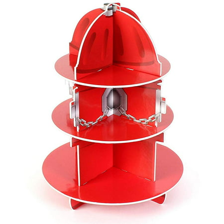 "Red Fire Hydrant Cupcake Stand Holder 3 Tier, 5 3/4"" X 11"", 1 Hydrant Per Order - Table Decorations For Firefighter, Fire Rescue Themed Birthday, Halloween, Party - By Kidsco - Halloween Themed Birthday Party Food Ideas"