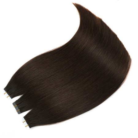 BHF Hair Tape Hair Extension Remy Hair Silky Straight Full Set Skin Weft 20Pcs 40G Per Package 2# Darkest Brown 16