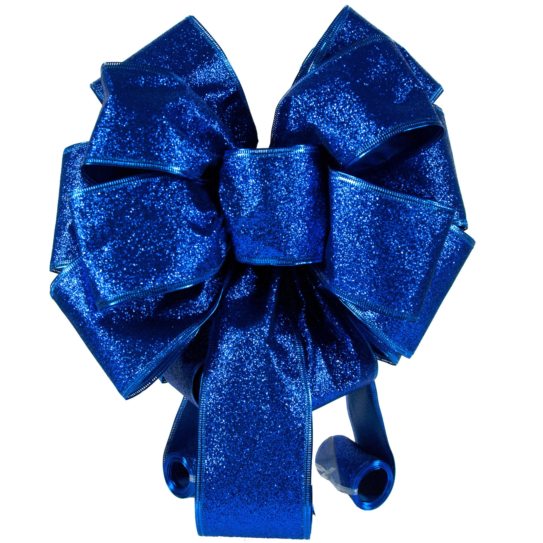 Holiday Time Blue Glitter Tree Topper Bow Walmart Com Walmart Com