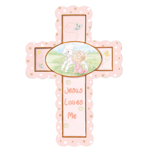 Precious Moments Jesus Loves Me Cross Baby Girl Figurine Hanging Art by Precious Moments