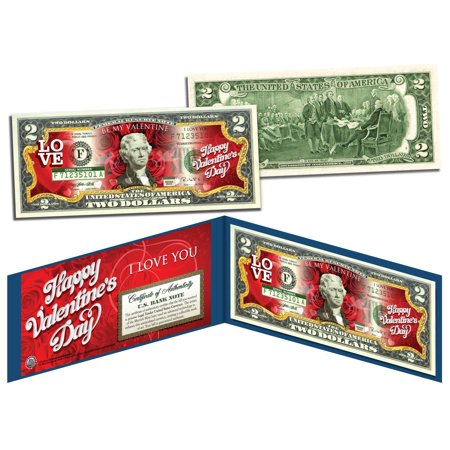Happy Valentines Day Keepsake Gift Colorized  2 Bill Us Legal Tender  Red Roses