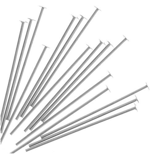 Head Pins, 3/4 Inch Long and 24 Gauge Thick, 20 Pieces, Sterling Silver