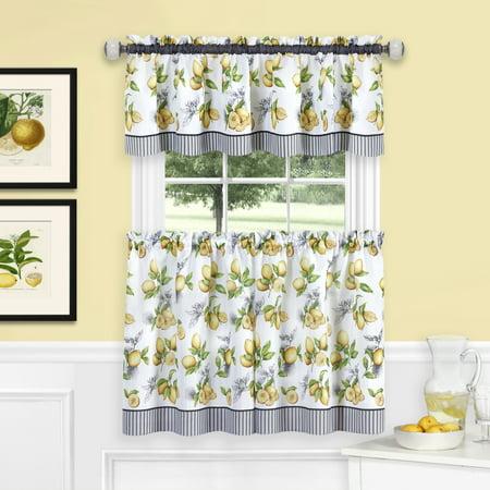 Lemon Drop Tier and Valance Window Curtain Set - Yellow