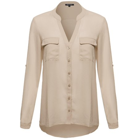 5084d4ad FashionOutfit Women's Sheer Button Up Henley Neck Blouse Top ...
