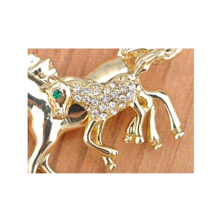 US Gold My Little Pony Horse Jockey Stylish Rhinestone Custom Made Brooch Pin for $<!---->