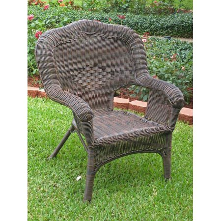 Wicker Resin/Steel Outdoor Patio Chair (Mocha) ()