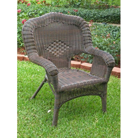 Wicker Resin/Steel Outdoor Patio Chair (Mocha) (Wicker Chair Outdoor)