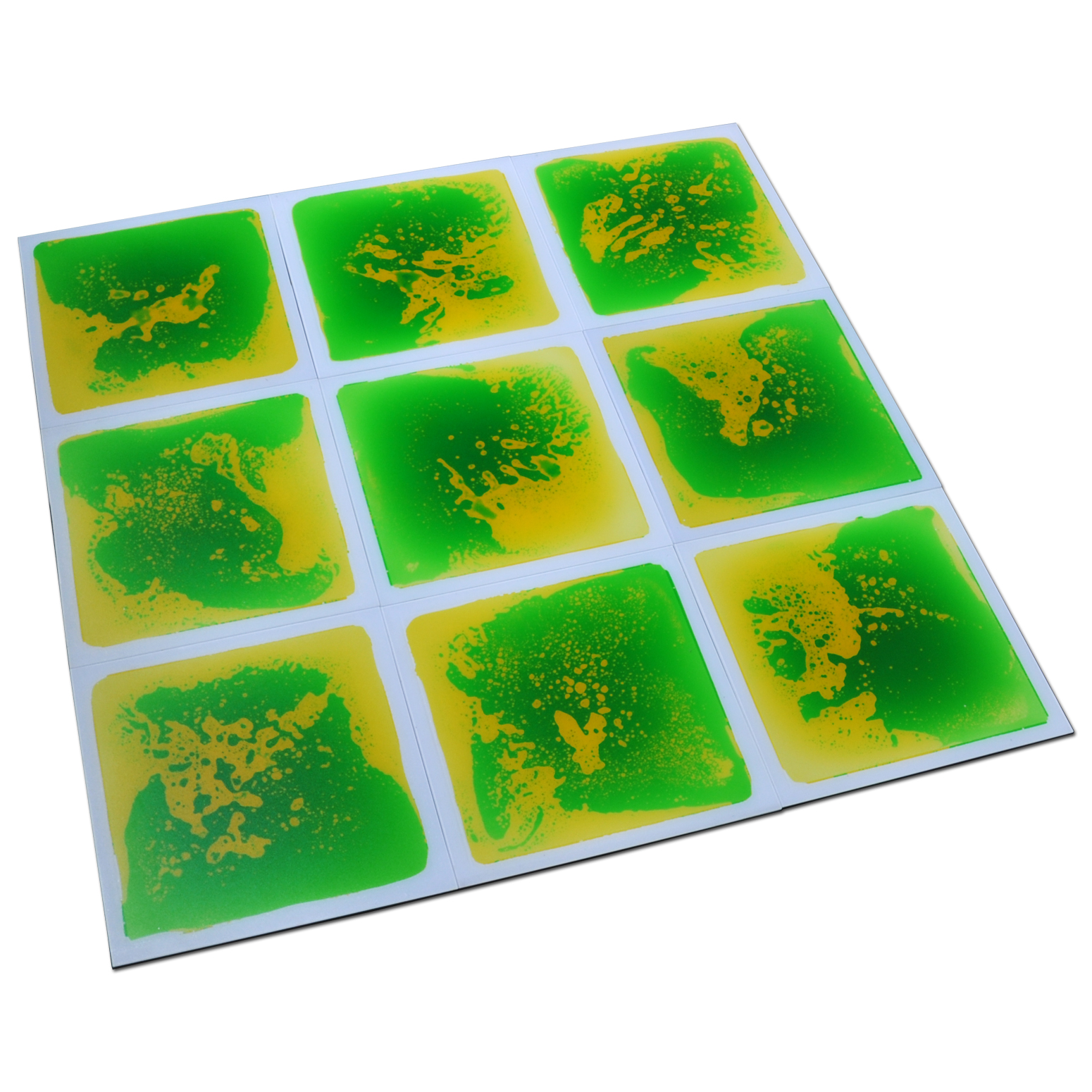"Art3d Kids Play Mat Fancy Floor Tile For Kids Room Liquid Encased Floor Tile, 12"" X 12"" Blue"
