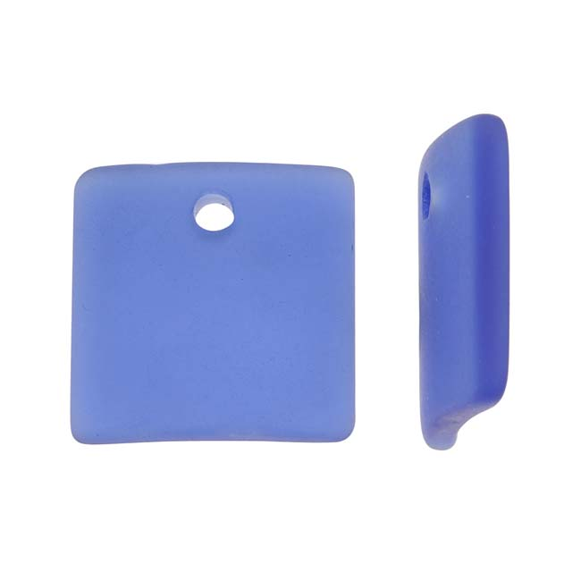 Cultured Sea Glass, Curved Square Pendants 22x22mm, 2 Pieces, Cobalt Blue