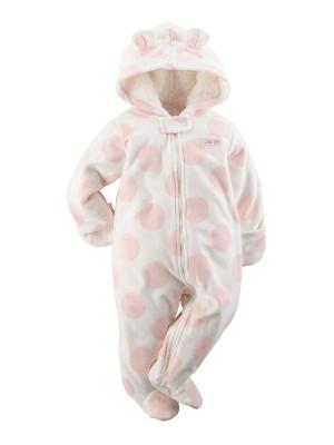 Carters Infant Girls Plush Pink Polka Dot Coverall Bunting Baby Pram