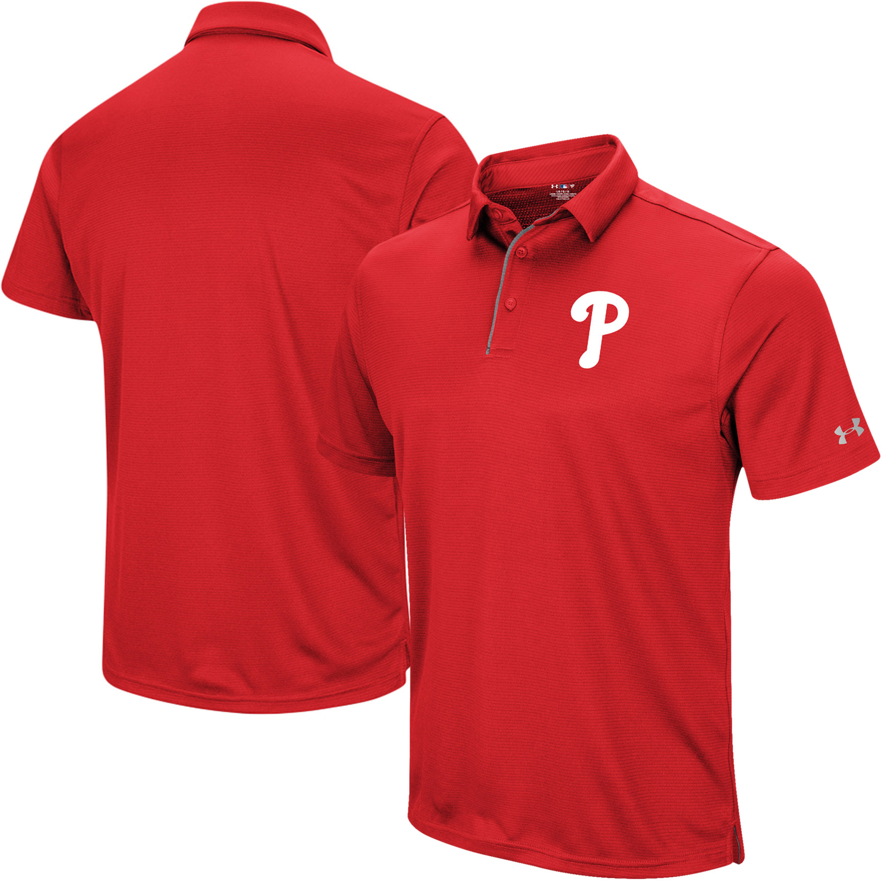 Philadelphia Phillies Under Armour UA Tech Left Chest Polo - Red
