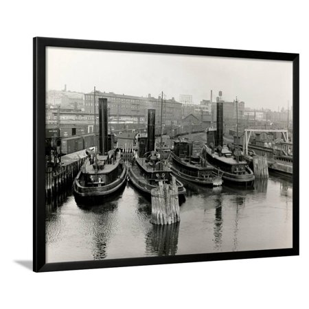 New Haven Railway Tugs, Harlem River Framed Print Wall Art By P.L. Sperr