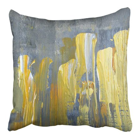 CMFUN Paint Abstract in Yellow and Gray on Canvas Original Painting Contemporary Grey Pillowcase Cushion Cover 16x16 inch (Contemporary Painting)