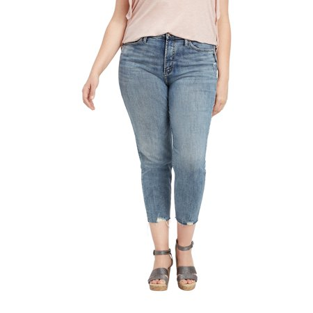 reputation first top brands official supplier Plus Size Silver Jeans Co. Calley Skinny Cropped Jean