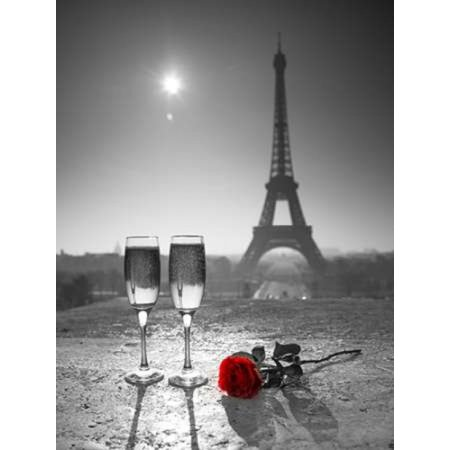 Champagne glasses with red rose next to the Eiffel tower Stretched Canvas - Assaf Frank (9 x 12)