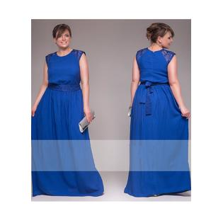 Women Lace Shoulders Sleeveless Long Plus Size Gown Blue