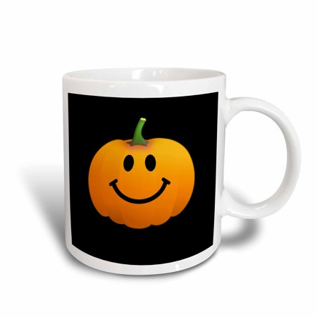 3dRose Orange pumpkin smiley face on black - cute happy Halloween jack o lantern cartoon - fun smileys, Ceramic Mug, 11-ounce