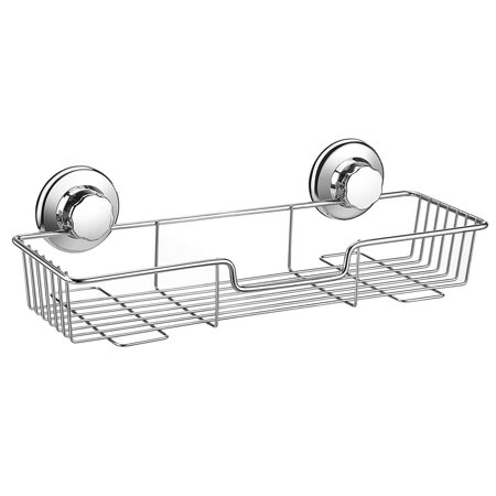 Strong Suction Cup Shower Caddy Bath Shelf Storage, Combo Organizer Basket for Shampoo, Conditioner, Soap, Razor Bathroom Accessories - Rustproof Stainless Steel ()
