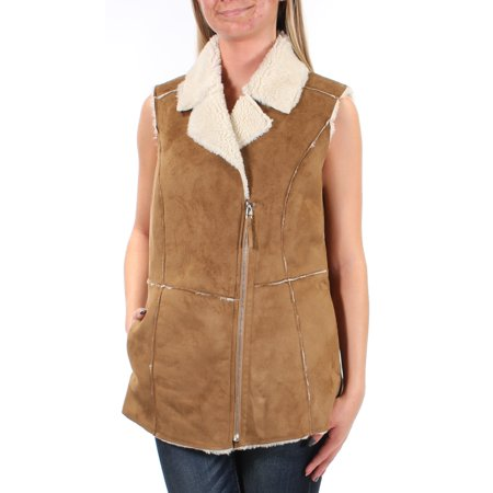 WILDFLOWER Womens Brown Faux Suede Faux Fur Sleeveless Collared Vest Sweater  Size: XS