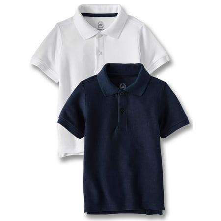 Wonder Nation Toddler Boys School Uniform Short Sleeve Double Pique Polo, 2-Pack Value Bundle ()
