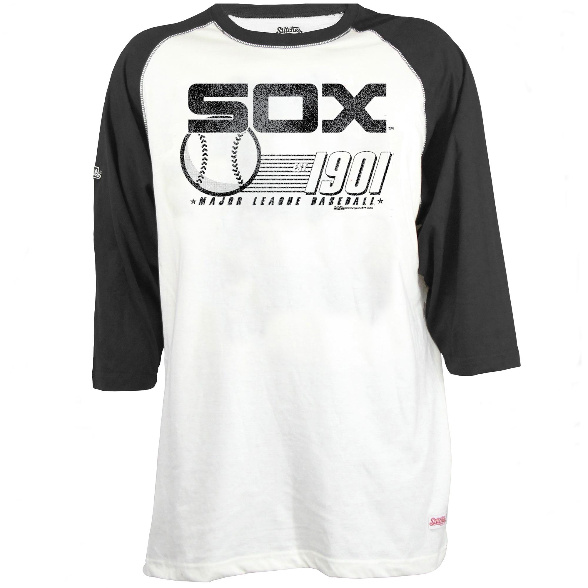 Men's Stitches White/Black Chicago White Sox 3/4-Sleeve Raglan T-Shirt