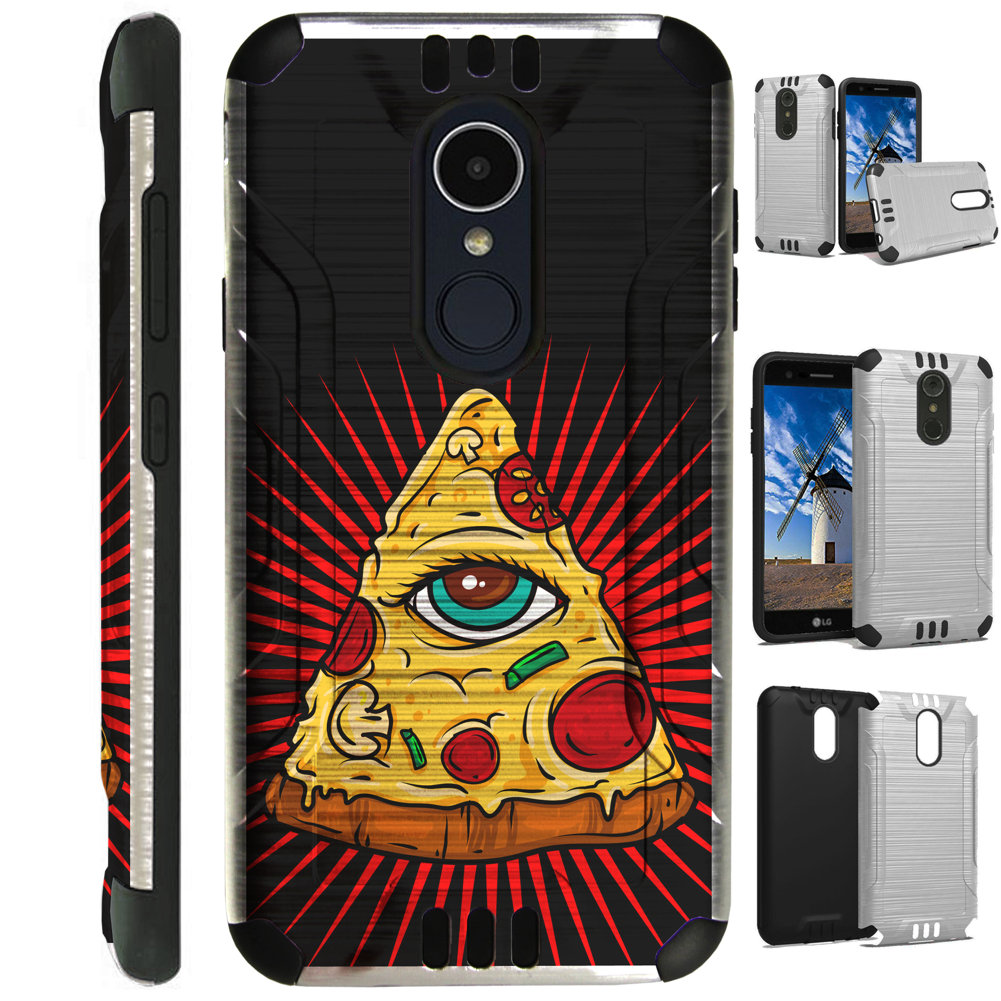 For LG Rebel 3 | LG Rebel 4 Case Brushed Metal Texture Hybrid TPU Silver Guard Phone Cover (Pizza Eye)