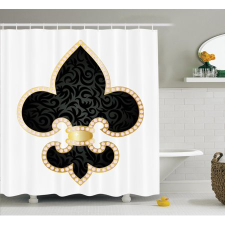 Fleur De Lis Decor  Royal Legend Lily Throne Of France Empire Family Insignia Of Knights Image  Bathroom Accessories  69W X 84L Inches Extra Long  By Ambesonne