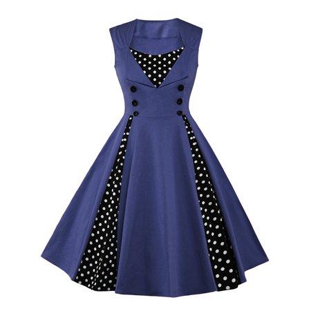 Vintage Swing Dresses For Women Retro Rockabilly 50s 60s Polka Dot